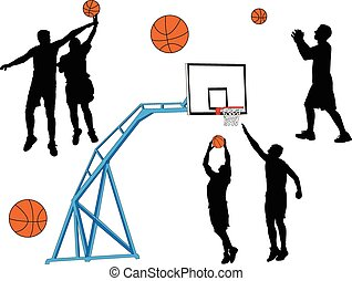 basket-ball, -, vecteur