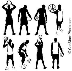basket-ball, vecteur, ensemble, joueurs