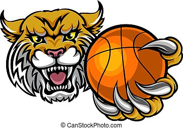 basket-ball, wildcat, balle, tenue, mascotte