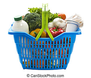 Basket - Blue plastic shopping basket on a white background...