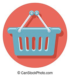 basket circle icon with shadow