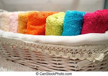 basket., coloré, serviettes