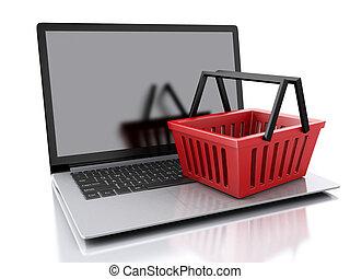basket., concepto, compras, 3d, en línea