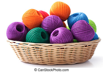Basket crafts and sewing, on a white background