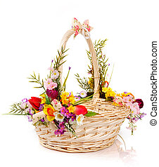 basket decorated with flowers
