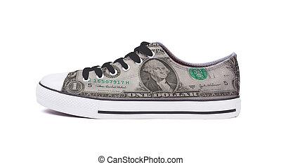 basket, dollar, -, une, chaussure, nouveau