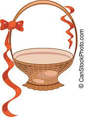 Festive gift basket with red line, vector illustration