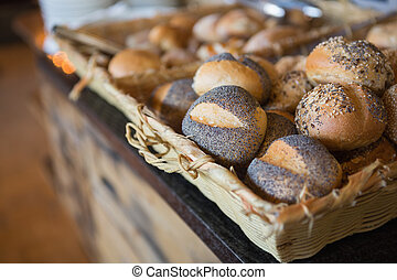 Basket filling with delicious bread at the bakery