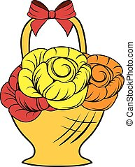 Basket flowers icon cartoon