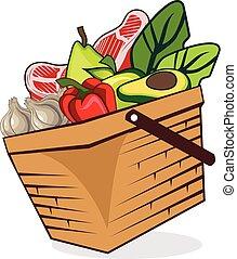 Basket food vegetables vector