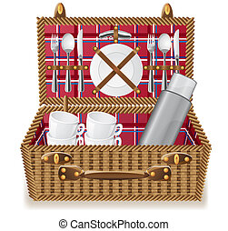 basket for a picnic with tableware vector illustration