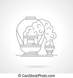 Basket for coal detailed line vector illustration - Abstract...