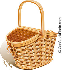 Basket for picnic. Eps10 vector illustration. Isolated on...