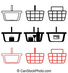 Basket for shopping with wear wine glass and present black red