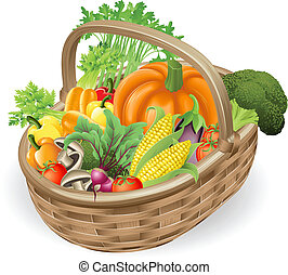 Basket fresh vegetables - Illustration of basket or hamper...