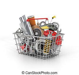 Basket from a shop full of auto parts. Auto parts store. Automotive basket shop.