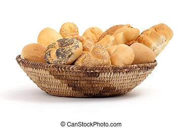 basket full of bread on a white background