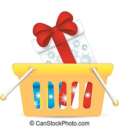 Basket full of christmas gifts, vector illustration