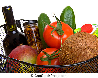 basket full of fresh colorful vegetables isolated on white background. (A shopping)