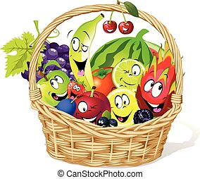 basket full of fruit character cartoon - vector illustration