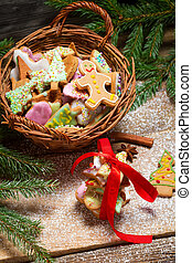 Basket full of gingerbread cookies for Christmas