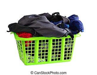 Basket full of laundry isolated on white