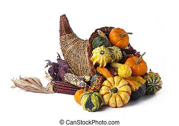 Studio shot of wicker basket full of pumpkins.
