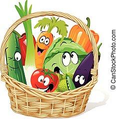 Basket full of vegetable character cartoon - funny vector design