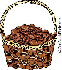 Basket full with coffee beans