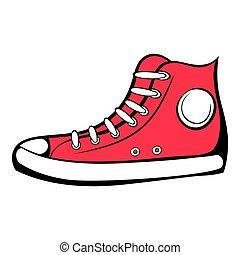 basket, icône, dessin animé, rouges