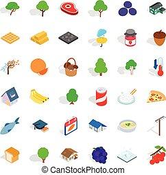 Basket icons set, isometric style