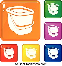 Basket icons set vector color