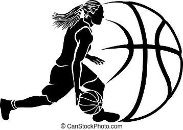basket kula, dribbling, kvinnlig, sihouette