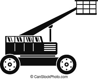 Basket lift truck icon, simple style