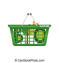 basket nature and eco vector illustration