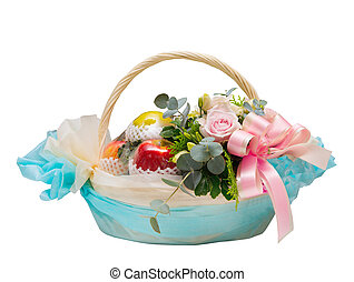 basket of apple fruit and roses flowers for giving isolated...