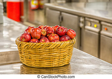 Basket of Apples in Commercial Kitchen