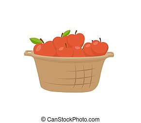 Basket of Apples Single Vector Icon Cartoon Style