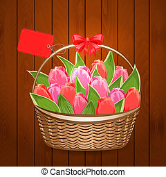Basket of beautiful tulips with label