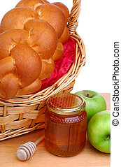 Basket Of Bread, Honey And Apples