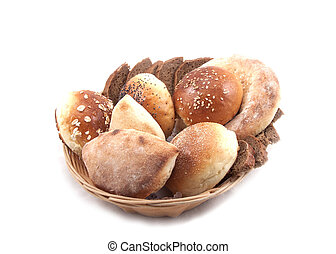 Basket of bread on a white background