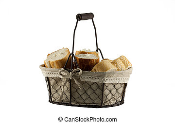 Basket of bread rolls isolated