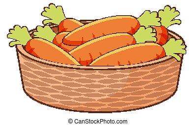Basket of carrots on white background