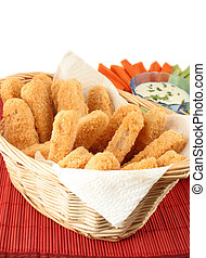 chicken fingers - basket of crispy chicken fingers with ...