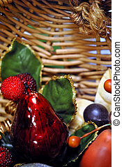 Basket of decorative fruit