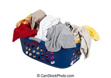 A blue basket overflowing with dirty laundry - household chores concept