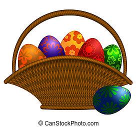 Basket of Easter Day Eggs Illustration