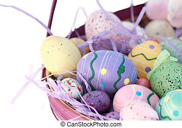 Basket of Easter Egg - Basket of Easter eggs isolated on...