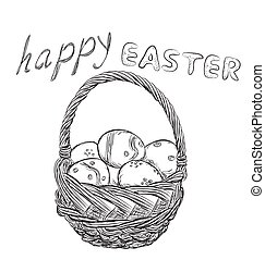 Basket of Easter eggs outline. Hand drawn letters