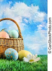 Basket of easter eggs with a painterly effect